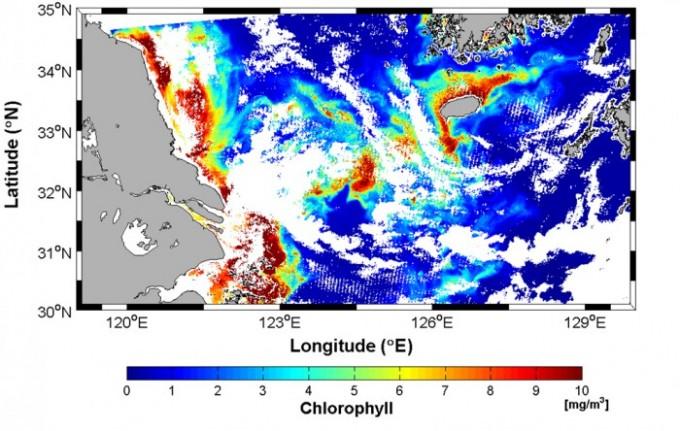 지난 14일 천리안 해양관측위성(GOCI-Ⅱ)이 촬영한 엽록소농도 분석 영상. - 한국해양과학기술원 제공